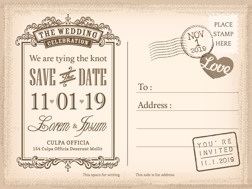 Wedding Invitations Postcard Design Graphic Vector