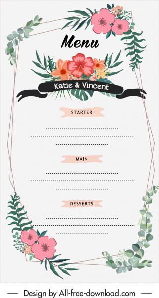 wedding menu template colorful classic botanical decor