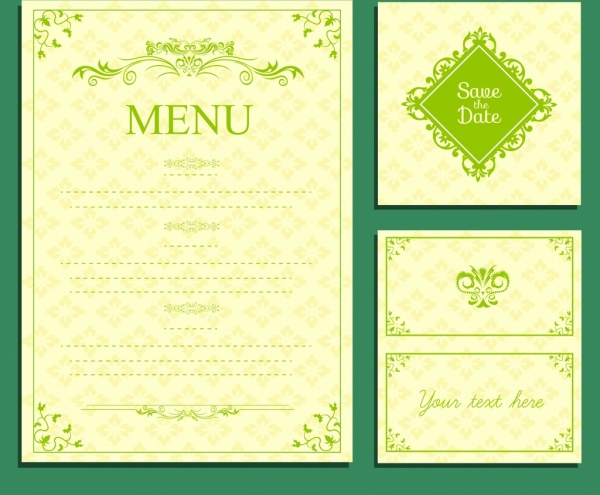 wedding menu template green design classical curves decor