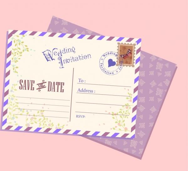 wedding postcard template classical decoration
