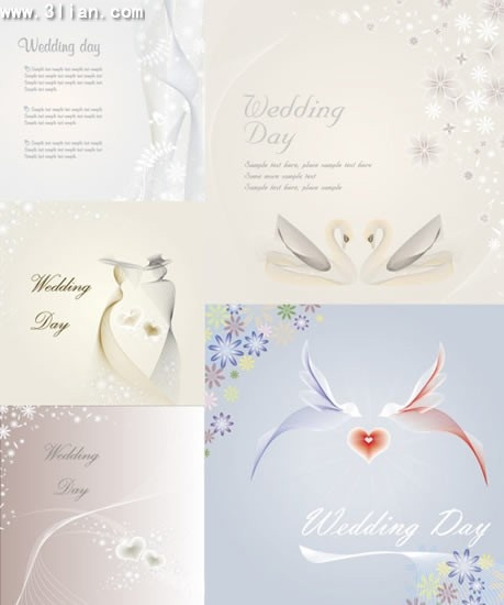 wedding background templates bright design bird flower icons