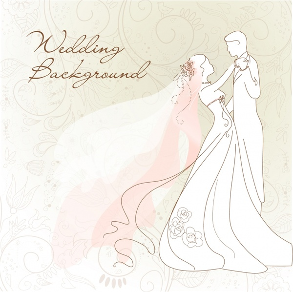 wedding background marriage couple icon handdrawn sketch