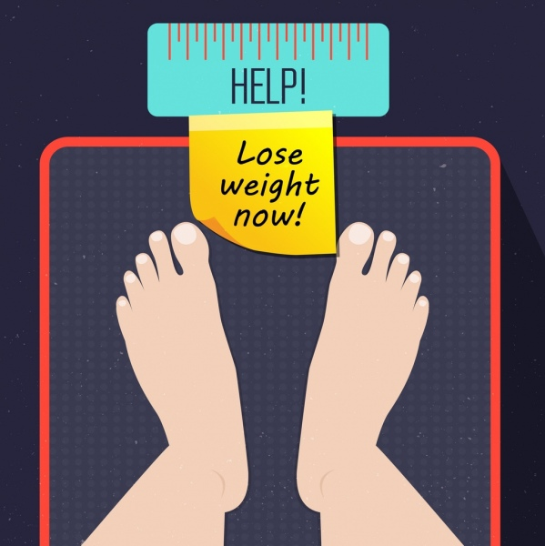 Weight Loss Banner Feet Balance Icons Free Vector In Adobe