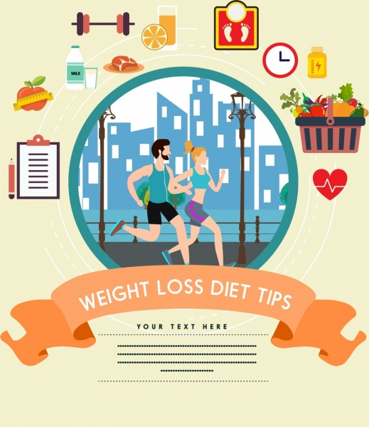 Weight Loss Diet Tips Banner Healthy Lifestyle Icons Free Vector In