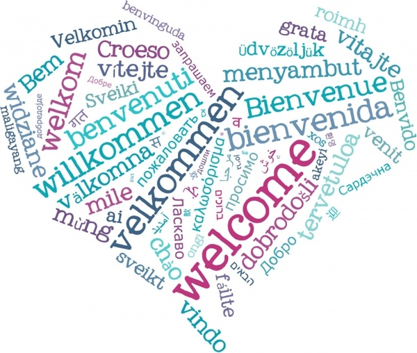 welcome heart blue