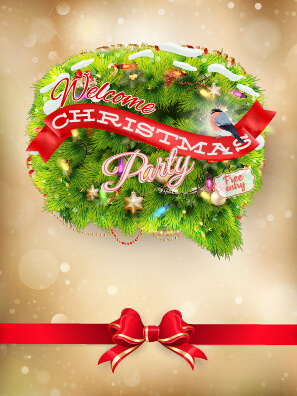 welcomes christmas party card with bow vector