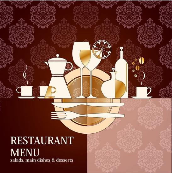 restaurant menu cover background flat classical dishwares sketch