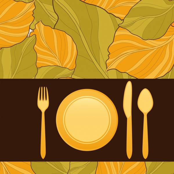 menu cover background dishware icons classical leaves decor