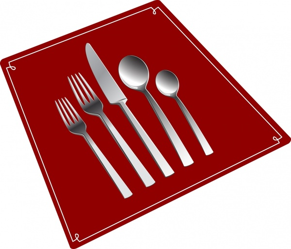 menu cover template dishware icons shiny silver 3d