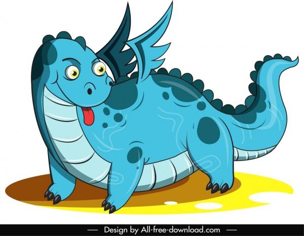 western dragon icon blue design cute cartoon sketch