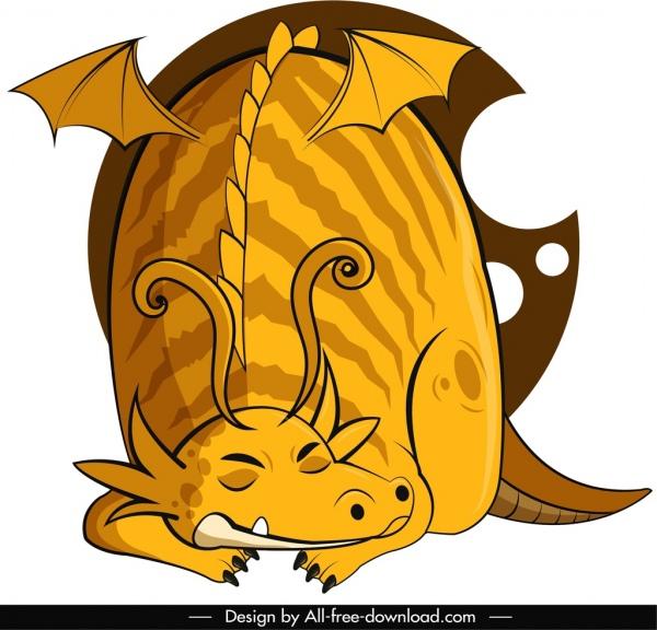 Western dragon icon sleeping gesture yellow sketch Free