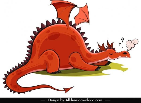 western dragon icon sleeping sketch funny cartoon sketch