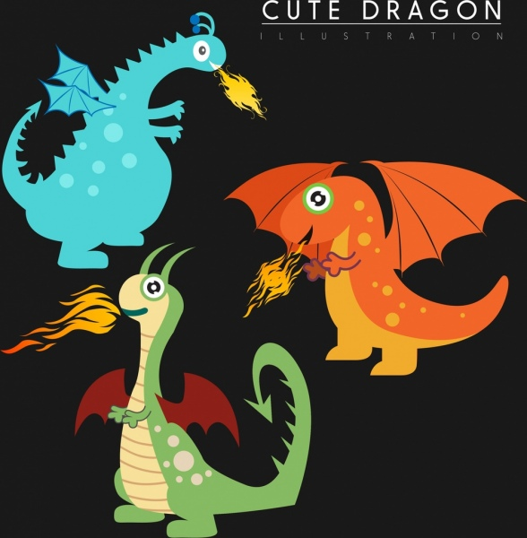 3443189c815 Western dragon icons collection cute stylized cartoon style Free ...