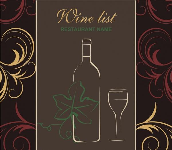 wine menu cover template colorful classic flat sketch