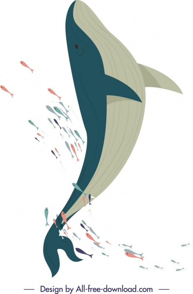 whale background colored cartoon sketch
