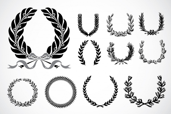 wreath icons classical black white symmetric circle decor