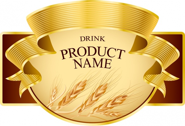 product label template elegant 3d ribbon wheat sketch