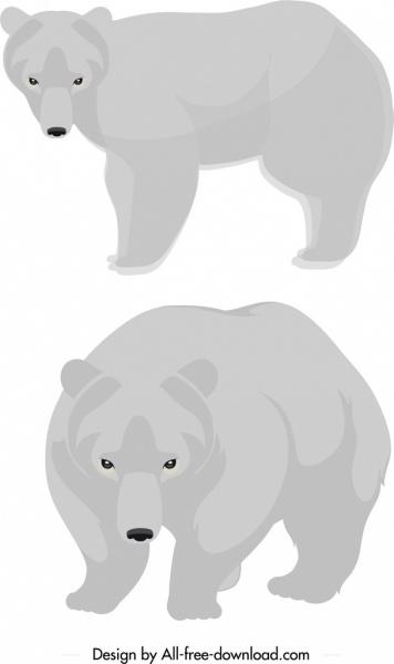 white bear icons cute cartoon sketch