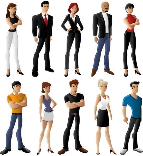 white cartoon characters 02 vector