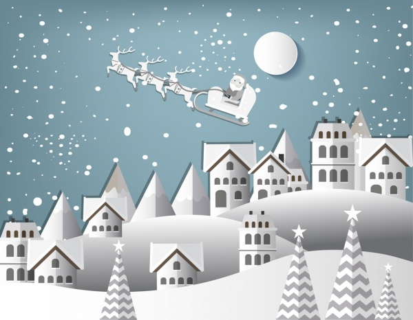 white christmas background flying santa claus moon icons