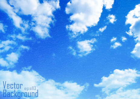 white clouds with blue sky vector background