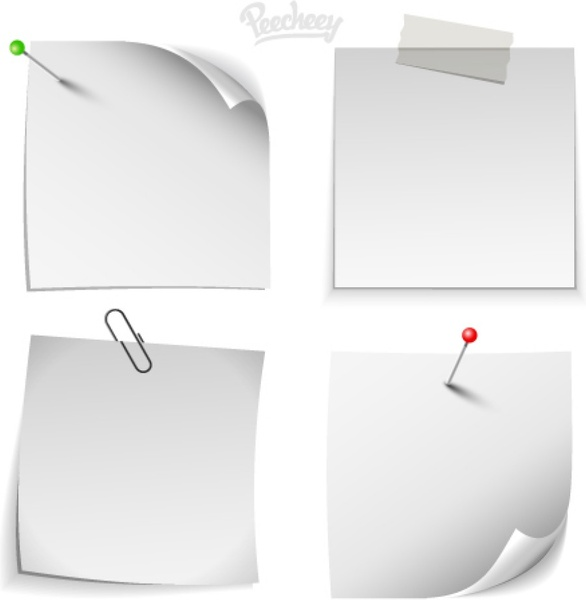 graphic regarding Note Paper Template titled White observe paper templates Absolutely free vector inside of Adobe Illustrator