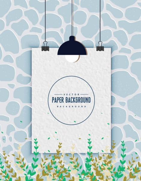 white paper background blank clamped design flowers decoration
