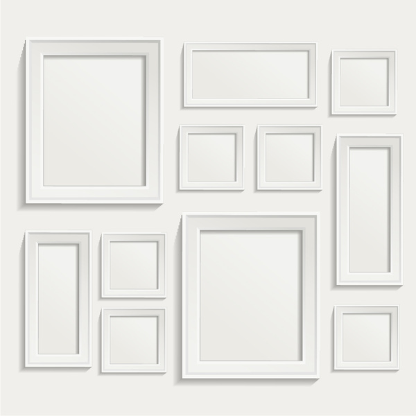 white photo frame set vector