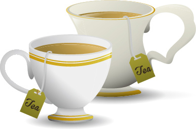 white porcelain cup with tea vector