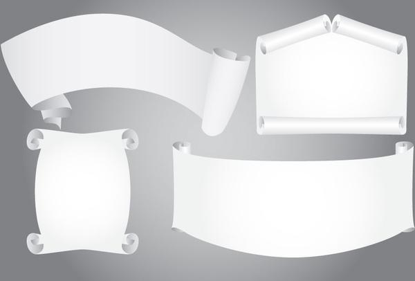white scroll ribbon sets on grey background