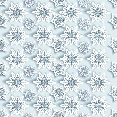 white snowflake paper vector christmas pattern