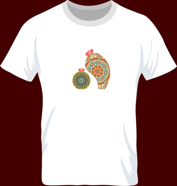white tshirt design cactus flowers pattern decor
