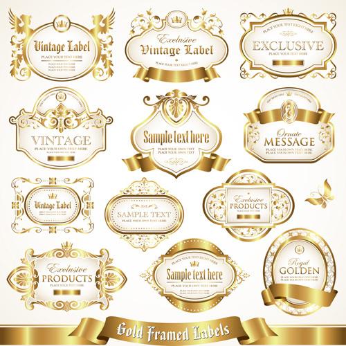 white with golden framed labels vector set