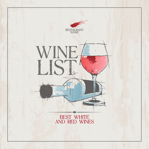white with red wine hand drawing menu cover vector