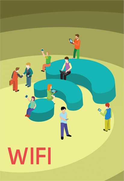 wifi connection concept design with human communication