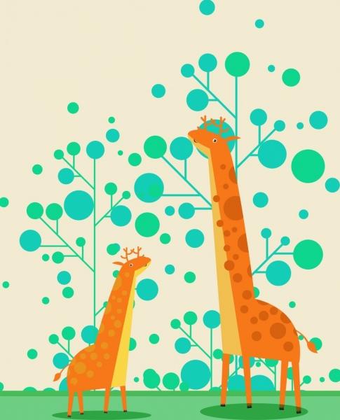 wild animal drawing giraffe tree icons colored cartoon