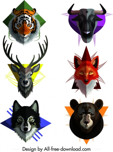 wild animal icons collection colored symmetric heads decor