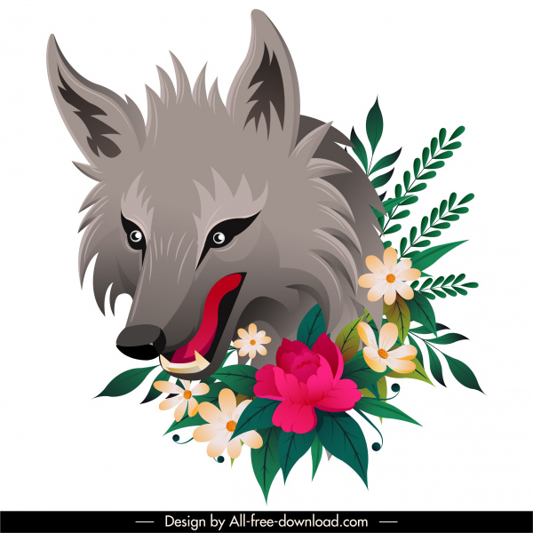 wild animal painting wolf flowers decor colorful handdrawn sketch