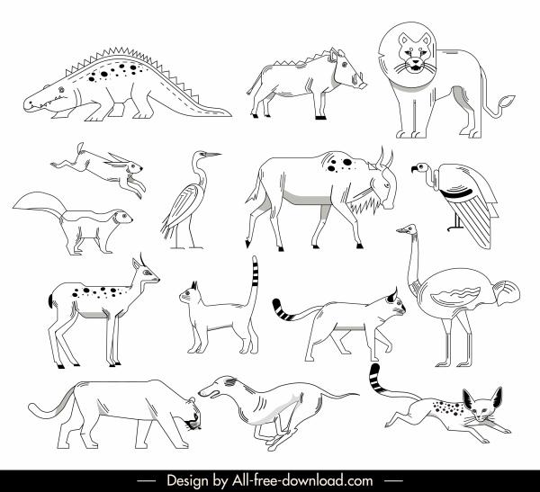 wild animals icons black white handdrawn sketch