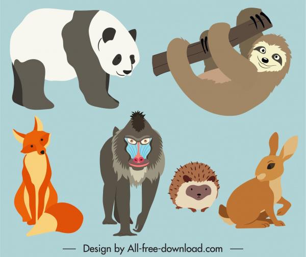wild animals icons colored cartoon sketch
