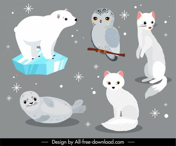 wild animals icons cute fox seal owl bear
