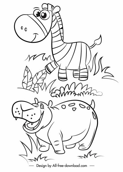 wild animals icons horse hippo cartoon sketch