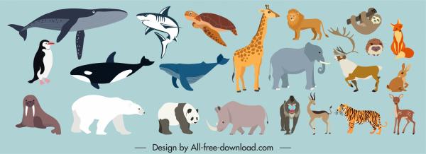wild animals species icons colored cartoon sketch