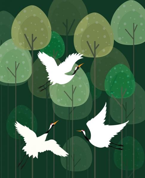 wild birds drawing green trees decoration