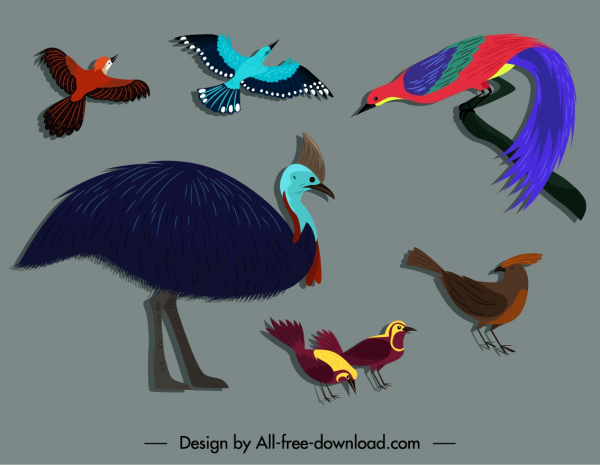 wild birds icons colorful flat sketch