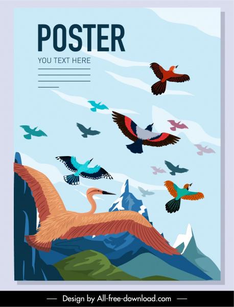 wild birds poster colorful cartoon design motion sketch