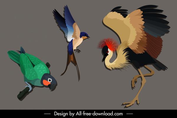 wild birds species icons parrot crane woodpecker sketch