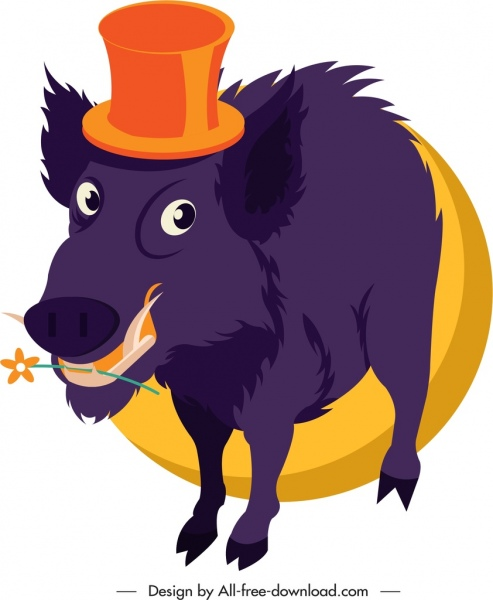 wild boar animal icon funny cartoon sketch