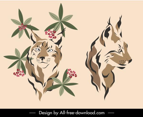wild cat icons retro handdrawn sketch