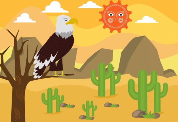 Wild Desert Background Eagle Sun Icons Cartoon Design Free Vector In
